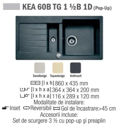 Chiuveta compozit Tegranit TEKA KEA 60B 1  1/2B 1D