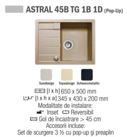 Chiuveta compozit Tegranit TEKA ASTRAL 45B TG 1B 1D