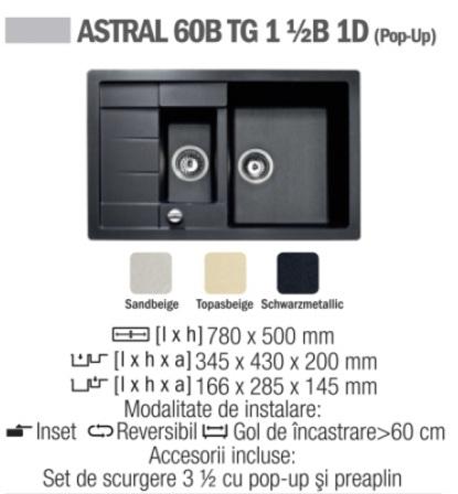 Chiuveta compozit Tegranit TEKA ASTRAL 60B TG 1 1/2B 1 D